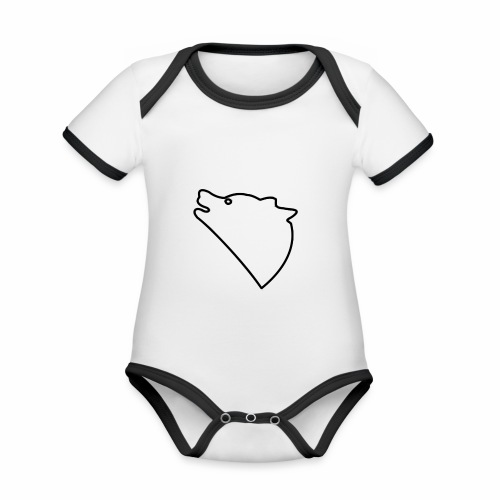 Wolf baul logo - Baby contrasterend bio-rompertje met korte mouwen