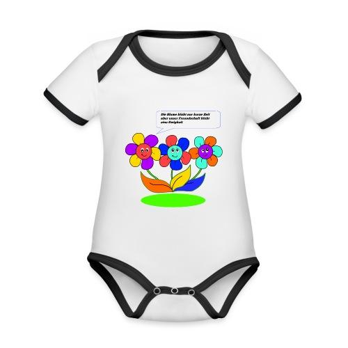 Blumen Freundschaft - Baby Bio-Kurzarm-Kontrastbody