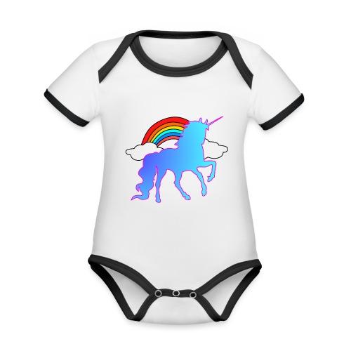 Einhorn Design - Baby Bio-Kurzarm-Kontrastbody