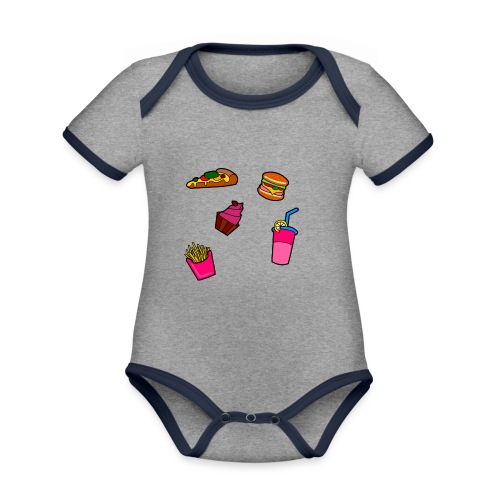Fast Food Design - Baby Bio-Kurzarm-Kontrastbody