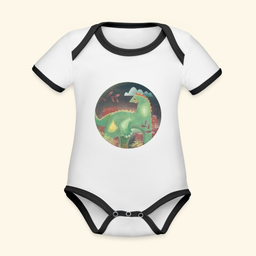 Dinosaur in the landscape - Body da neonato a manica corta, ecologico e in contrasto cromatico