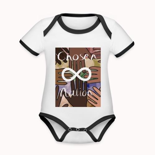 Chosen nation - Baby contrasterend bio-rompertje met korte mouwen