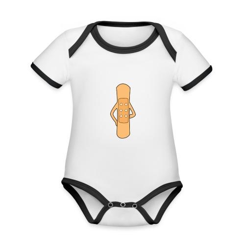 Flierp Trekpleister - Baby contrasterend bio-rompertje met korte mouwen