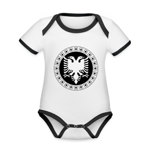 Albanien Schweiz Shirt - Baby Bio-Kurzarm-Kontrastbody