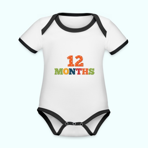 Twelve 12 months old baby print photography prop - Organic Baby Contrasting Bodysuit