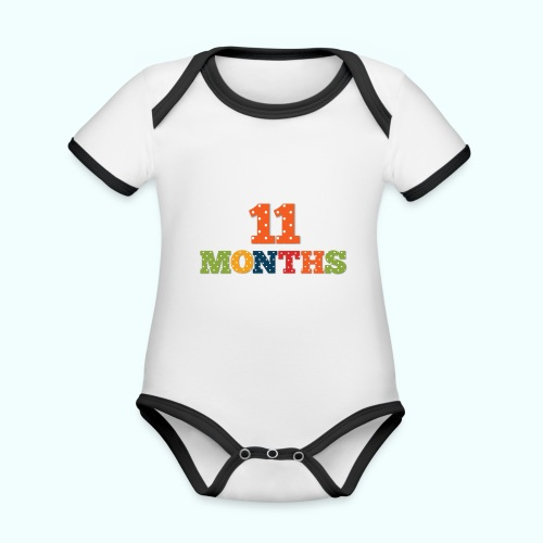 Eleven 11 months old baby age print photo prop - Organic Baby Contrasting Bodysuit