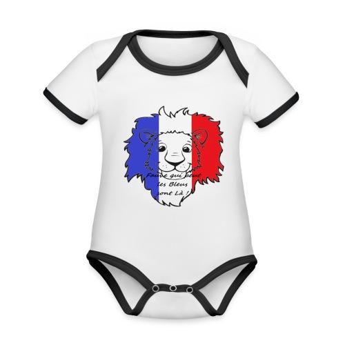 Lion supporter France - Body Bébé bio contrasté manches courtes