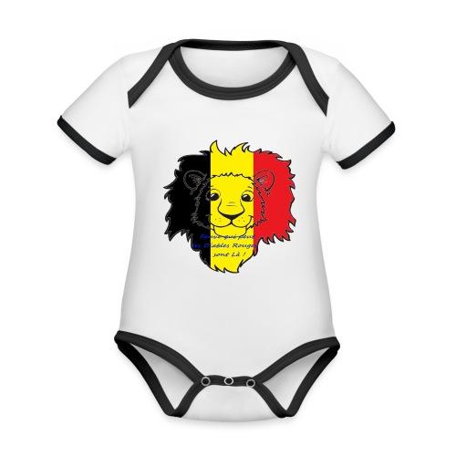 Lion supporter Belgique - Body Bébé bio contrasté manches courtes