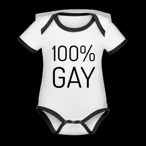 100% Gay - Baby contrasterend bio-rompertje met korte mouwen