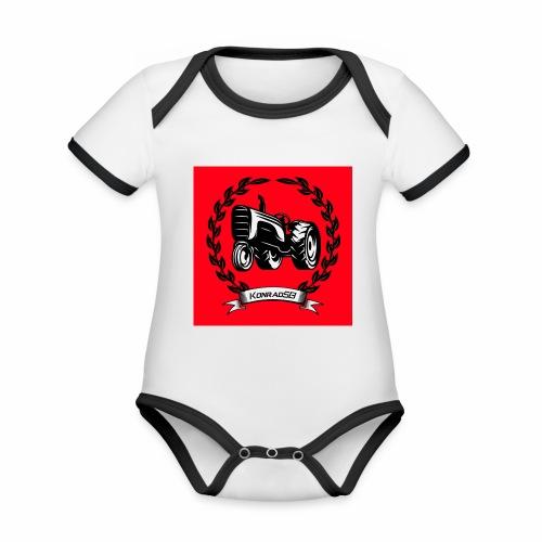 KonradSB czerwony - Ekologiczne body niemowlęce z krótkim rękawem i kontrastowymi lamówkami