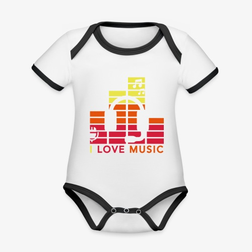 I love music Illustration Gig Band Musik Godigart - Baby Bio-Kurzarm-Kontrastbody