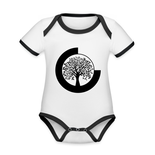 YANYOTBY Logo - Baby contrasterend bio-rompertje met korte mouwen