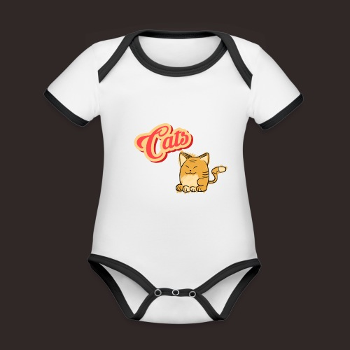 Katze | Katzen süß Schriftzug - Baby Bio-Kurzarm-Kontrastbody