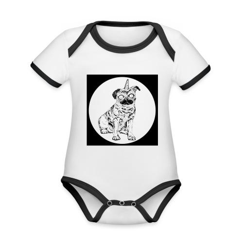 rysunek Pies-Jednorożec - Ekologiczne body niemowlęce z krótkim rękawem i kontrastowymi lamówkami