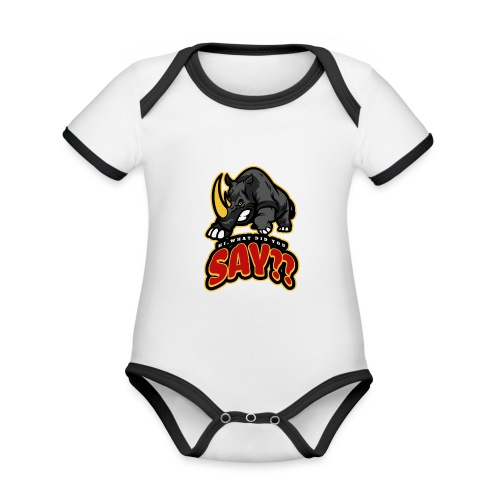What did you say? grappige t-shirt /boze neushoorn - Baby contrasterend bio-rompertje met korte mouwen