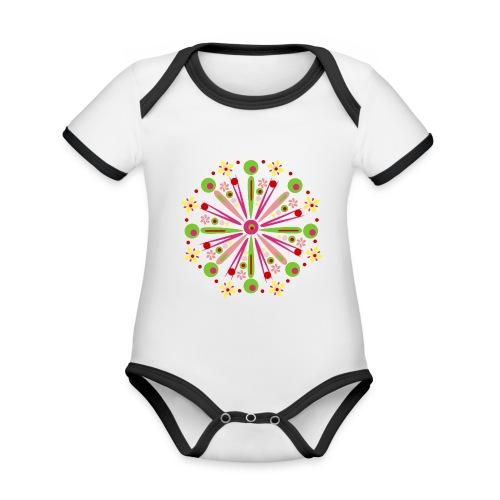 Mandala Zomer - Baby contrasterend bio-rompertje met korte mouwen