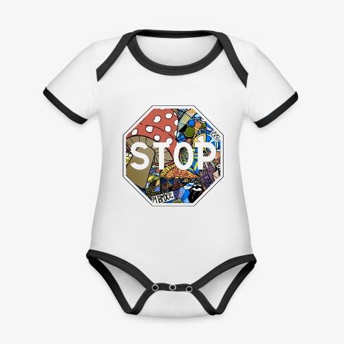 panneau stop pidraw - Body Bébé bio contrasté manches courtes