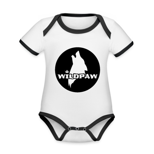 Wildpaw logo circular transparent mono - Organic Baby Contrasting Bodysuit
