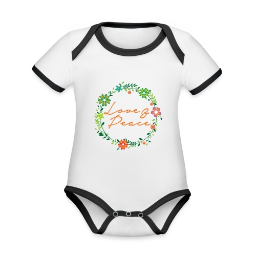 Love and Peace - Organic Baby Contrasting Bodysuit