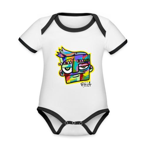 Rilla colour face - Baby contrasterend bio-rompertje met korte mouwen