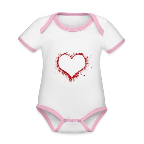 Herz/Heart - Baby Bio-Kurzarm-Kontrastbody