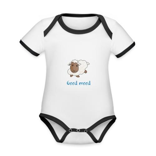 Nadège le petit mouton blanc - Body Bébé bio contrasté manches courtes