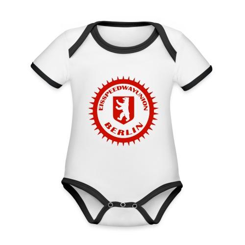 Logo in Rot Weiß - Baby Bio-Kurzarm-Kontrastbody