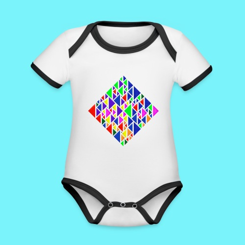 A square school of triangular coloured fish - Organic Baby Contrasting Bodysuit