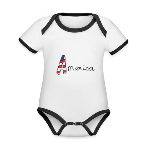 America - Body Bébé bio contrasté manches courtes