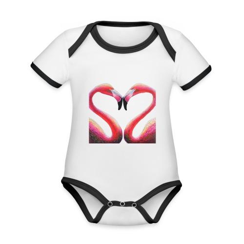 PAREJA DE FLAMENCOS - Body contraste para bebé de tejido orgánico