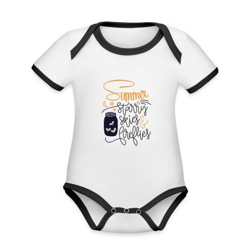 Starry skies and fireflies - Body da neonato a manica corta, ecologico e in contrasto cromatico