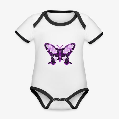 Fioletowy motyl - Ekologiczne body niemowlęce z krótkim rękawem i kontrastowymi lamówkami