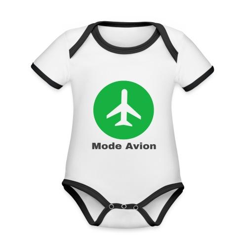 Mode Avion - Body Bébé bio contrasté manches courtes