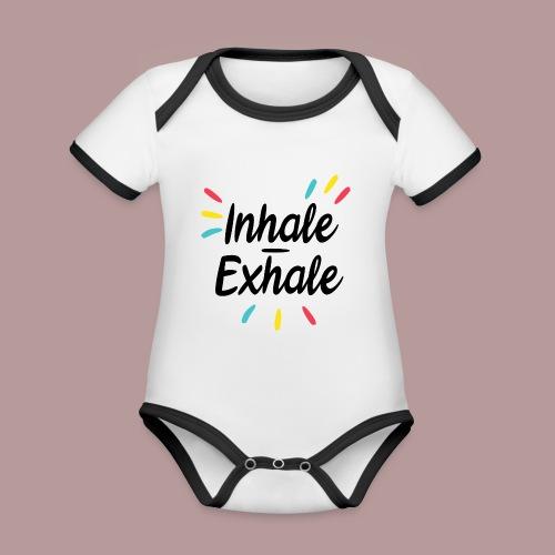 Inhale exhale yoga namaste - Body Bébé bio contrasté manches courtes