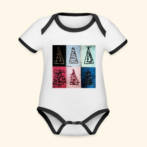 Alberi natale - Body da neonato a manica corta, ecologico e in contrasto cromatico
