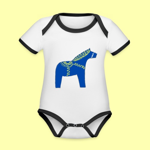 Dala by Pinni Art® blue - Baby Bio-Kurzarm-Kontrastbody