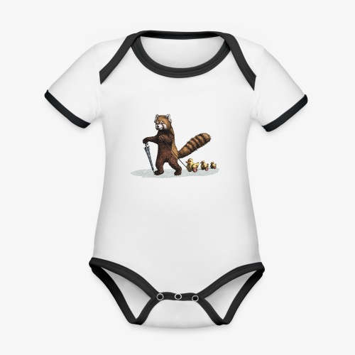 Red Panda with Ducks - Organic Baby Contrasting Bodysuit