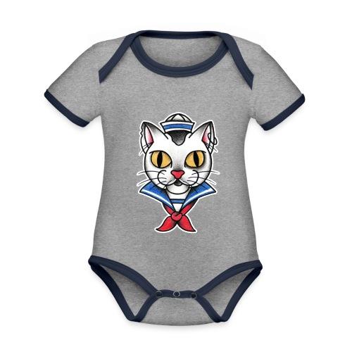 Sailorcat - Body da neonato a manica corta, ecologico e in contrasto cromatico