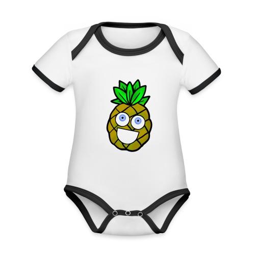 Shananas - Baby contrasterend bio-rompertje met korte mouwen