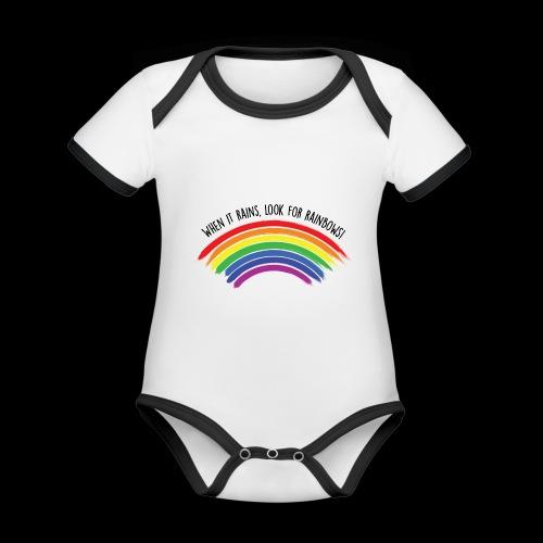 When it rains, look for rainbows! - Colorful Desig - Body da neonato a manica corta, ecologico e in contrasto cromatico