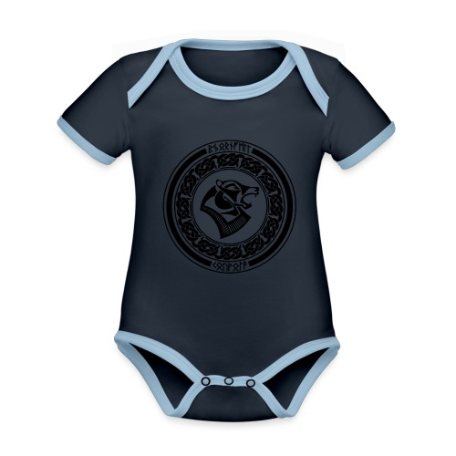 BjornfellRisingBlack - Vauvan kontrastivärinen, lyhythihainen luomu-body