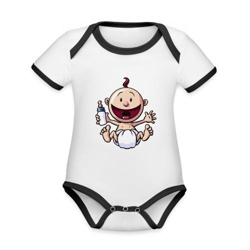 Das Baby lacht. - Baby Bio-Kurzarm-Kontrastbody