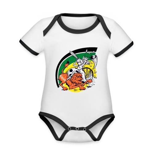 fortunaknvb - Baby contrasterend bio-rompertje met korte mouwen