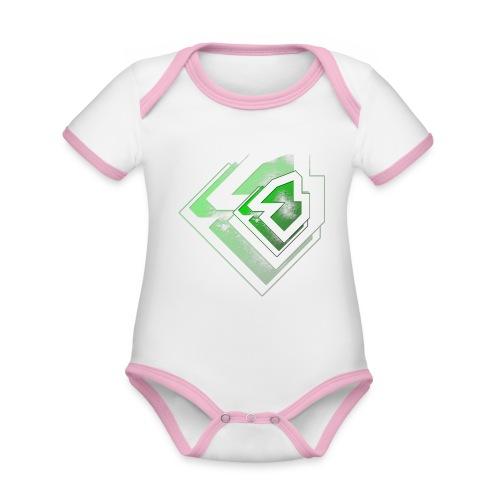 BRANDSHIRT LOGO GANGGREEN - Baby contrasterend bio-rompertje met korte mouwen