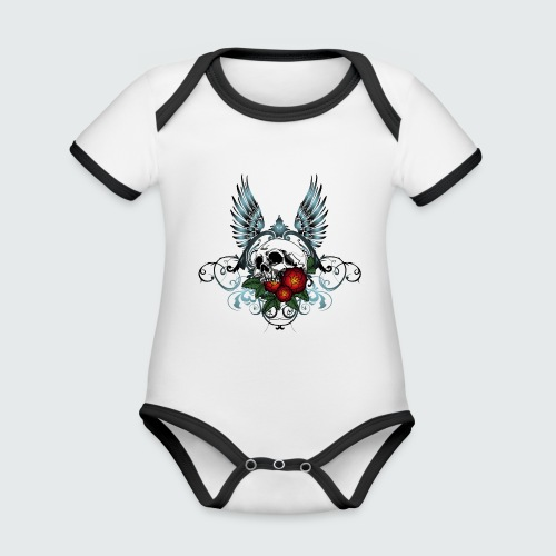 Skull Rose & Wing - Body da neonato a manica corta, ecologico e in contrasto cromatico