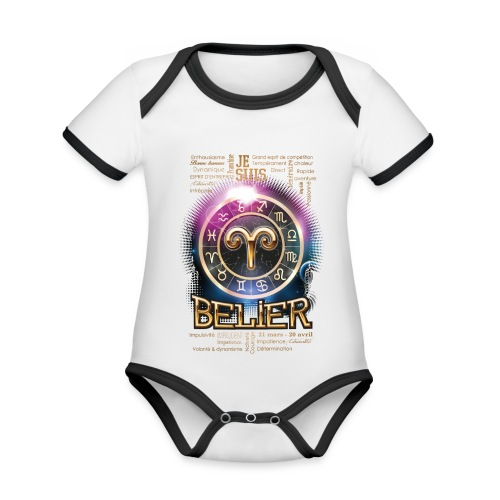 BELIER - Body Bébé bio contrasté manches courtes