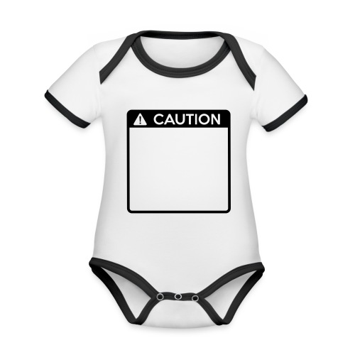 Caution Sign (1 colour) - Organic Baby Contrasting Bodysuit