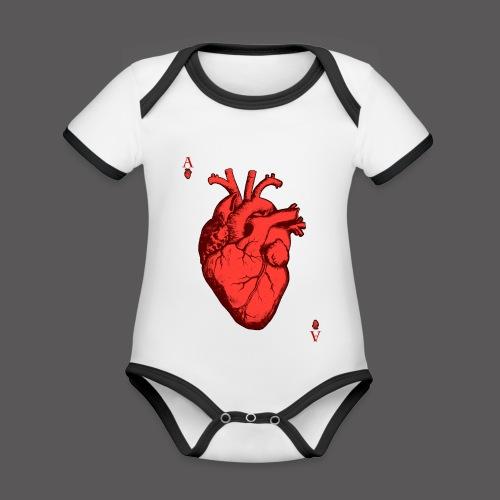 Herz Ass - Baby Bio-Kurzarm-Kontrastbody