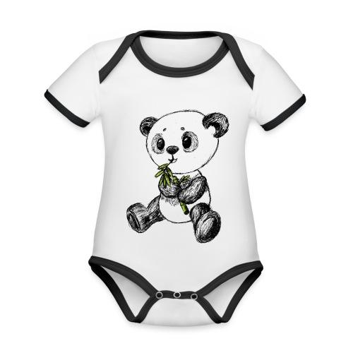 Panda bjørn farvet scribblesirii - Kortærmet økologisk babybody i kontrastfarver