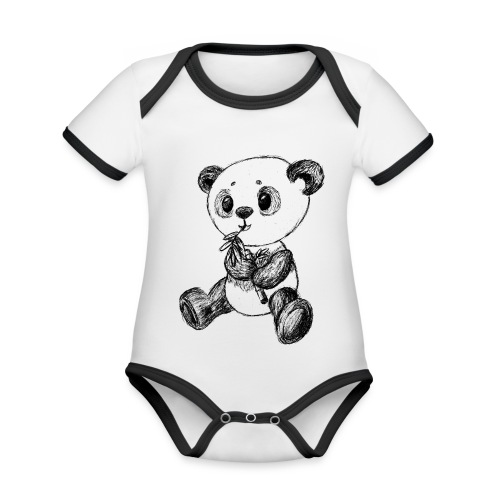 Panda bjørn sort scribblesirii - Kortærmet økologisk babybody i kontrastfarver